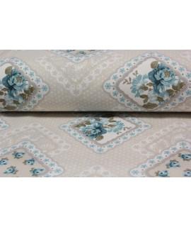 Bavlnená látka (š. 240 cm) - béžovo-tyrkysová  VZOR 15.