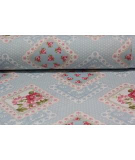 Bavlnená látka (š. 240 cm) - modro-ružová  VZOR 15.