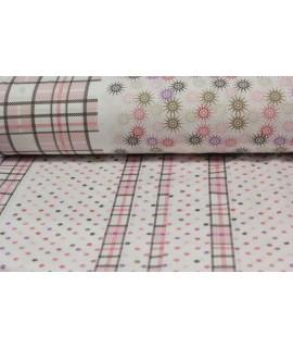 Bavlnená látka (š. 240 cm) - ružovo-biela VZOR 16.