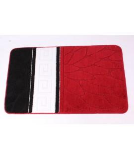 koberec do kúpeľne (60x100 cm) - vzorovaný-červeno-čierny
