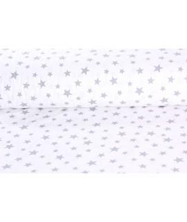 Bavlnená látka (š. 240 cm) - biela - sivé hviezdy