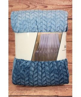 Deka dúhová s potlačeným vzorom SENDIA (200x230 cm) - modrá
