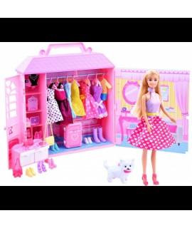 Bábika - domček s oblečením