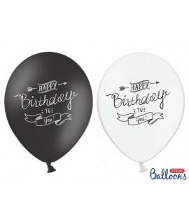 Balón - Happy Birthday to you - 1ks Čierna