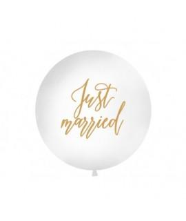 Balón - Just Married, biely - 100cm