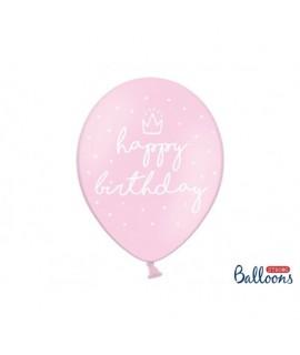 Balóny Happy Birthday - pastelová ružová 30cm, 6ks