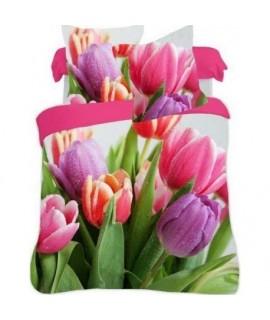 Bavlnené posteľné obliečky 3D Tulipány color 140x200, 70x80