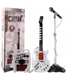 Bezdrôtová elektrická gitara s mikrofónom a zosilňovačom Biela