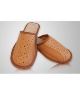 Chlapčenské kožené papuče - svetlo hnedé ( P0017 ) 41
