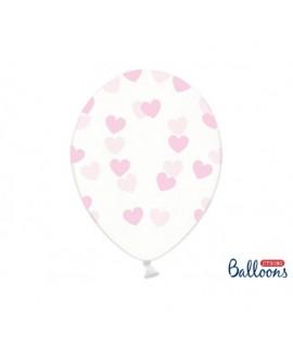 Číre balóny so srdiečkami - Crystal Clear - 30cm, 6ks Ružová