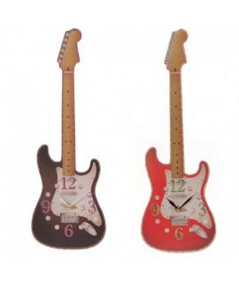 CKF68 Hodiny v tvare gitary Červená