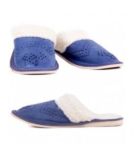 Dámske kožené papuče - Modrá 36