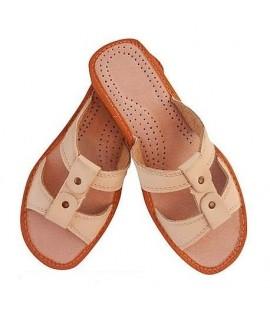 Dámske kožené papučky - béžové 36