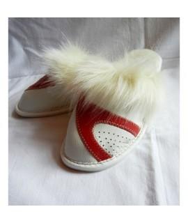 Dámske kožené papučky - Biela s červenou 36