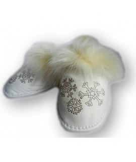 Dámské kožené papučky - biele 36