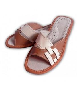 Dámske kožené papučky - Bielohnedé 36