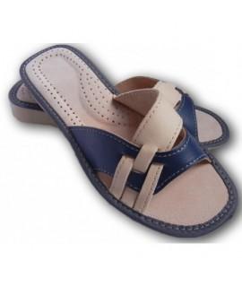 Dámske kožené papučky - Bielomodrá 36