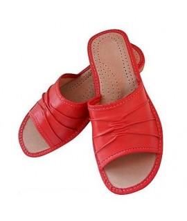 Dámske kožené papučky - červené 36