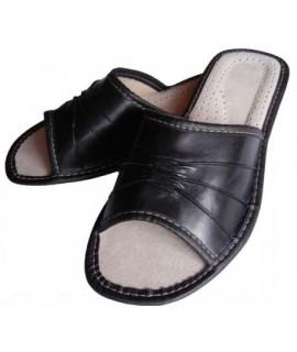 Dámske kožené papučky - čierne 36