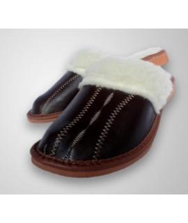 Dámske kožené papučky - Tmavo hnedá 36