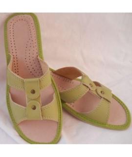 Dámske kožené papučky - zelené 36