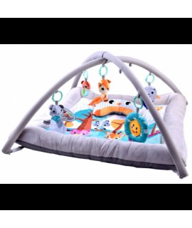 Detská deka s hrázdičkami - sivá so zvieratkami