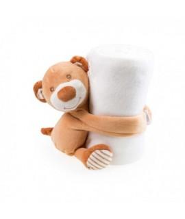 Detská fleecova deka s Medvedíkom 100x75 - Biela