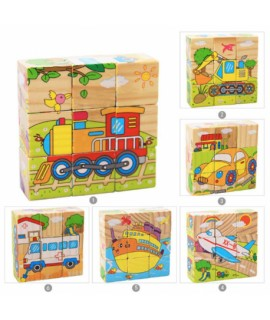 Detské drevené kocky 9 ks - dopravné prostriedky 6v1