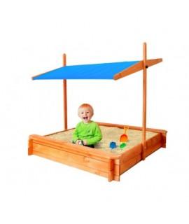 Detské drevené pieskovisko s modrou strieškou 120x120 cm
