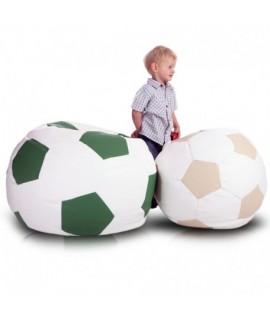Detský MINI sedací vak ECOPUF - FOOTBALL S - ekokoža E2 - Smotanovo biela