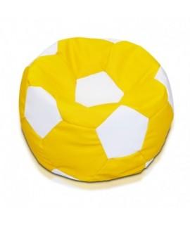 Detský MINI sedací vak ECOPUF - FOOTBALL S KIDS - ekokoža E1 - Biela