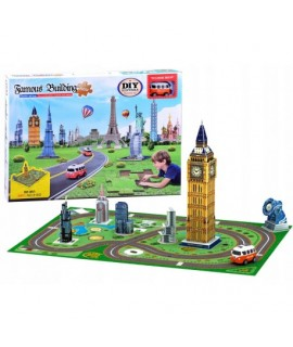 DIY - 3D puzzle Big Ben s podložkou a autíčkom