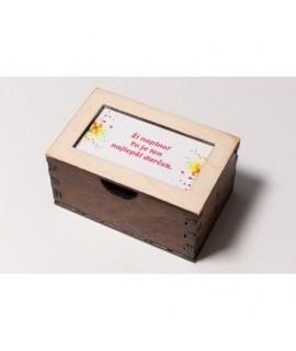 Drevená krabička s blahoželaniami