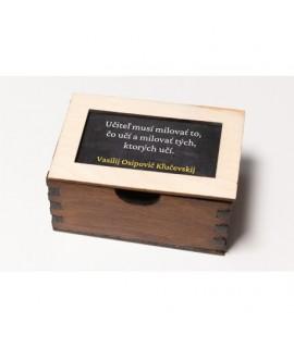 Drevená krabička s citátmi pre učiteľov