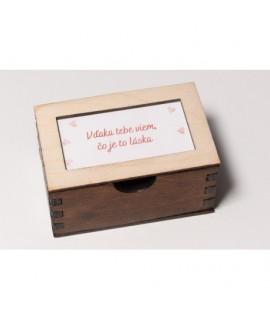 Drevená krabička s vyznaniami pre zaľúbených