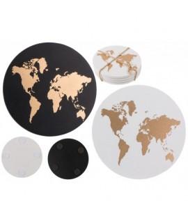 Drevená podšálka so vzorom mapy sveta (4 ks) Čierna