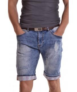 """Pánske elastické krátke rifľové nohavice """"M-SARA"""" (KG-3520) - modré"""