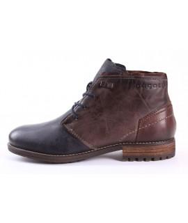 Pánska kožená mierne zateplená členková obuv BUGATTI (321-60135-3232) - tmavohnedé-modré