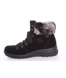 Dámska zateplená vodeodolná obuv na šnurovanie RIEKER Tex (Z7130-00) - čierna