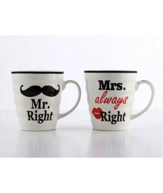 Hrnčeky Mr right a Mrs always right 250ml 2ks