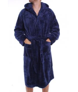 Pánsky župan s kapucňou (FK-2521) - slivkovo-modrý