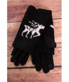 Dámske rukavice dvojdielne (18-382) - čierne