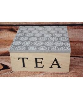 Drevená dóza na čaj so sivo-bielym motívom (16x7,5x16cm)