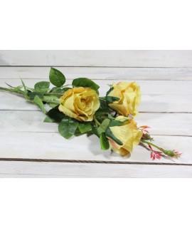 Umelá kytica RUŽÍ - žltá (v. 103 cm)