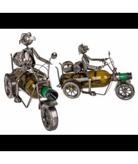 Kovový stojan na víno motorkár na Harley