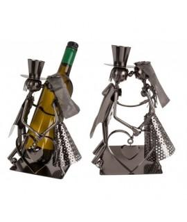 Kovový stojan na víno - Ženích a nevesta