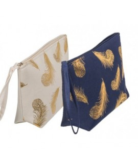 Kozmetická taška - Zlaté pierko Tmavo modrá