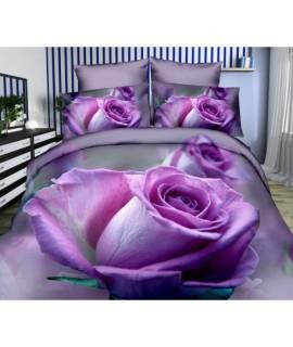 Posteľné obliečky 3D fialová ruža 140x200, 70x80