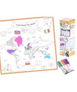 Prateľná omaľovánka s fixkami - WORLD MAP