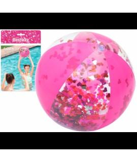 Ružová trblietavá plážová lopta so srdiečkami Bestway 41 cm